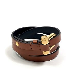 TOM FORD TAN LEATHER GOLD-TONE WRAP BRACELET ONE-SIZE FITS S RRP £520
