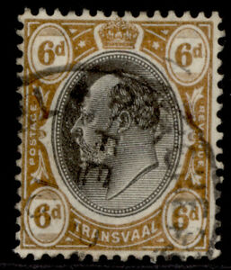 SOUTH AFRICA - Transvaal EDVII SG266a, 6d black & brown-orange, FINE USED.