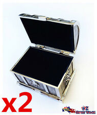 2x Metal Decorative Treasure Chest With Ornate Decorations Velvet Lining Pbox1x2