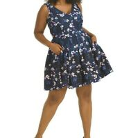 Taylor Dresses Scuba Knit Navy Blossom Sleeveless Fit And Flare Dress Size 24W