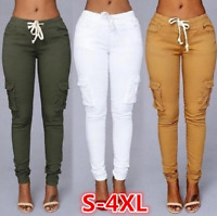 Womens Skinny Jogger Jeans Pencil Cargo Hot Pants Stretch Elastic Waist Trousers