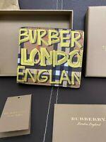 Burberry Men's Graffiti Print Check Bifold Wallet Black Yellow RRP 330$ Geniune