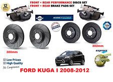 FOR FORD KUGA I 2008-2012 FRONT REAR PERFORMANCE DRILLED BRAKE DISCS + PADS KIT