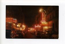 Boston MA Mass Chinatown, Night, old cars, neon signs, dragons, vintage postcard