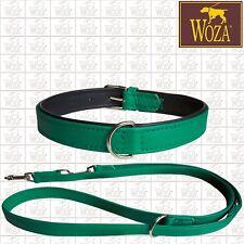 Premium Dog Set Collar + Lead WOZA Genuine Soft Cow's Napa Padded Handmade SS67