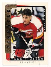 1996/7 Pinnacle  Auto Todd Simpson Calgary Flames