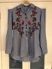 Ladies Clothes Size XS Zara Blue White Stripe Floral Shirt Blouse Top (693)