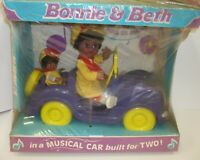 NOS Vtg 1982 Lovee Bonnie & Beth African American Dolls in Musical Car for Two