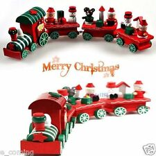 Hot New 4Piece Wood Christmas Xmas Train for Ornament Decoration Decor Gift