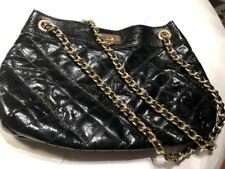 GUC Ann Taylor Cross Body Black Patent Leather Purse Bag with Gold Chain Strap