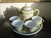 Vintage Chinese Export Porcelain Famille Rose Yellow Tea Set Tray Pot Four Cups