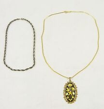 2 pc Vintage COSTUME Jewelry DIRECTION ONE Ekstro 835 SILVER Necklace LOT Chain