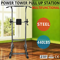 Power Tower 440lb Height Adjustable Station Dip   Bar Heavy Duty Pull Up HOT