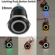 Black 5 Pin 19mm Led Metal Push Button Latching Switch Waterproof 1NO1NC 12V