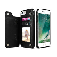 Coque Etui de Protection pour iPhone 7 8 PU en Cuir PU Flip Arrière Support / BK