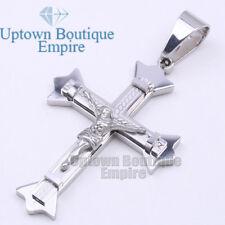 For Men Stainless Steel Silver Jesus Cross Pendant #27