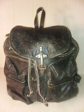 Rare VTG DKNY Distressed Black Leather Backpack Large Unisex 14 x 15