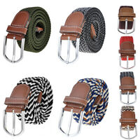 New Women Mens Unisex Elastic Woven Leather Pin Buckle Waist Belt Canvas Band