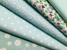 Fat Quarters Bundles Fabric Craft Bunting Sewing Flower Floral Pastel Green Mint
