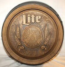 Vintage Miller Lite Pilsner Beer Plastic Faux Barrel Keg Bar Sign