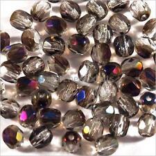 Facettes de Bohème 4mm Gris Irisé Lot de 50 perles