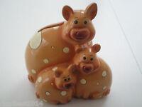 Piggy Pig Coin Bank Ceramic Mother Pig & Baby Tirelire Great condition  UNIQUE
