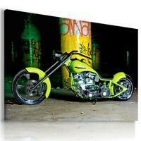 HARLEY DAVIDSON YELLOW MOTOR BIKE Wall Canvas Picture ART  HD63 MATAGA
