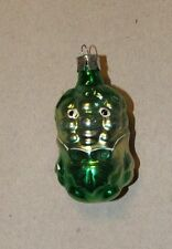 GREEN ELF Vintage Christmas tree ornament, glass 1970's mouth blown RARE