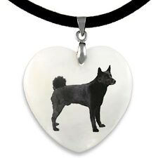 Norwegian Elkhound Dog Natural Mother Of Pearl Heart Pendant Necklace Chain PP75