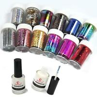 USA 12 Colors Nail Art Transfer Foil Sticker for Nail Tips Decoration + 2 Glue