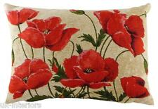 "18"" x 13"" Poppies Belgian Woven Tapestry Cushion Evans Lichfield Poppy Flower"