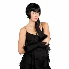 20s Black Elbow Gloves with Fluffy Cuffs Sexy Bedroom 2020 New Years Fancy Dress