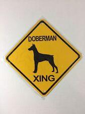 Doberman Xing Small Metal Caution Dog Crossing Sign 6�x6� (New)