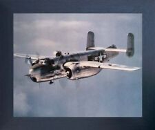 Military B-25 Mitchell Lt. Bomber Jet Vintage Aircraft Aviation Framed Picture