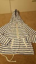 American Eagle white and blue striped pullover hoodie sweatshirt juniors medium