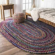 Natural Braided Oval Cotton Chindi Area Rug Floor Rug Free Shipping 6x9 Feet