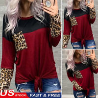 Women's Autumn Leopard T-shirt Tunic Tops Knot Long Sleeve O-Neck Blouse New