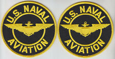 "Us Naval Aviation United States Navy Usn Us Emblem 2 Patches 4"" round/circle"