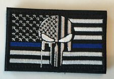 Thin Blue Line DEVGRU AMERICAN SNIPER Punisher Skull Flag Embroid Hook/Lp PATCH