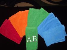 SET OF 2 MONOGRAMED EMBROIDERED TOWELS HAND PERSONALIZED