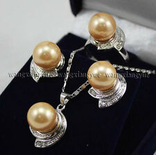 Golden South sea Shell Pearl Earrings Ring & Necklace Pendant Set AAA Grade