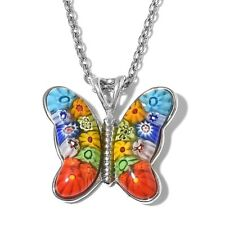 New Murano Millefiori Glass Stainless Steel Butterfly Pendant With Chain 24 in