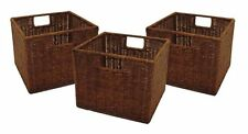 Storage Baskets Shelves Boxes Wicker Woven Rattan Small Square Brown Set of 3