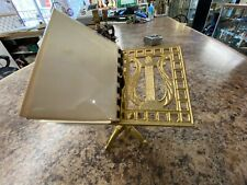 "Vintage Ornate Brass Easel Display  Picture Stand w/ picture book Music 5"" tall"