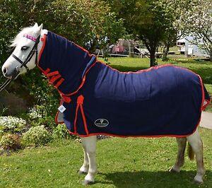 Unicorn Navy Miniature Anti Piling Fleece Combo Horse Rug Small Pony  3'0 to 4'6