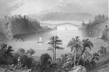 CANADA Chaudiere Bridge near Quebec - 1840s Engraving Print by BARTLETT