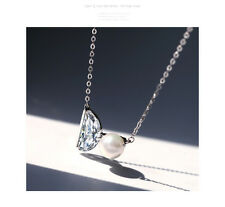 18K White Gold Plated Pearl & Zircon Pendant Necklace