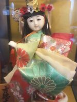 Vintage Rare Japanese Geisha Doll with Glass Presentation Case