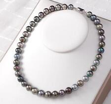"HUGE 18""11-12mm south sea genuine black gray redish multi round pearl necklace"