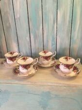 (4) ROYAL ALBERT OLD COUNTRY ROSES CUPS & SAUCERS 1962